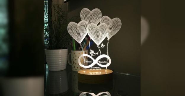 4'lü Kalp Modelli Aydınlatma Lambası