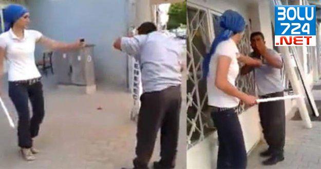 Erkeğe Şiddet Kameralarda! Kadın Elindeki Sopayla Erkeği Dövüyor