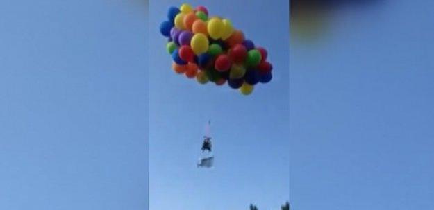 Sandalyesine 100 Balon Bağlayıp Havalandı!