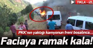 (GÖRÜNTÜLÜ HABER) PKK Yol Kesip Kamyonları Ateşe Verdi