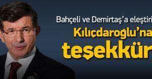 Başbakan Davutoğlu Kılıçdaroğlu'na Teşekkür Etti!
