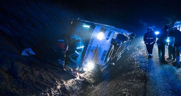Kütahya'da Elim Kaza! İşçileri Taşıyan Otobüs Devrildi Ölü ve Yaralılar Var