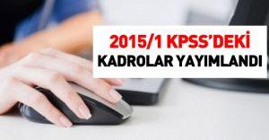 2015/1 KPSS'deki kadrolar yayımlandı