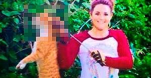 İNSANLIKTAN ÇIKTIK- Veteriner Bayan İŞİD'e Özenip Kediyi Kafasından Vurdu Yetmedi..!